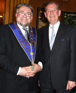 Compere John Pye with Centenary President Geoffrey Newton.