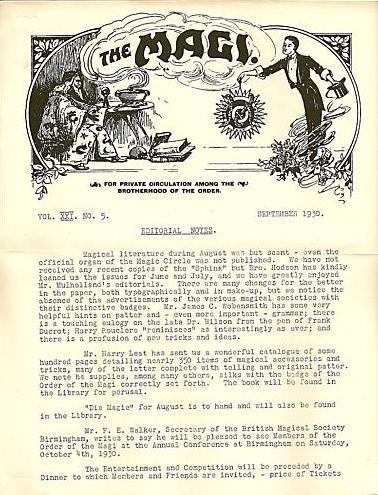 The front page of The Order of The Magi's members' only magazine from September 1930. Printed on A4 paper, the header is illustrated with a drawing of a wizard wearing magical robes on the left hand side, and a contemporary stage magician with a top hat on the right hand side.