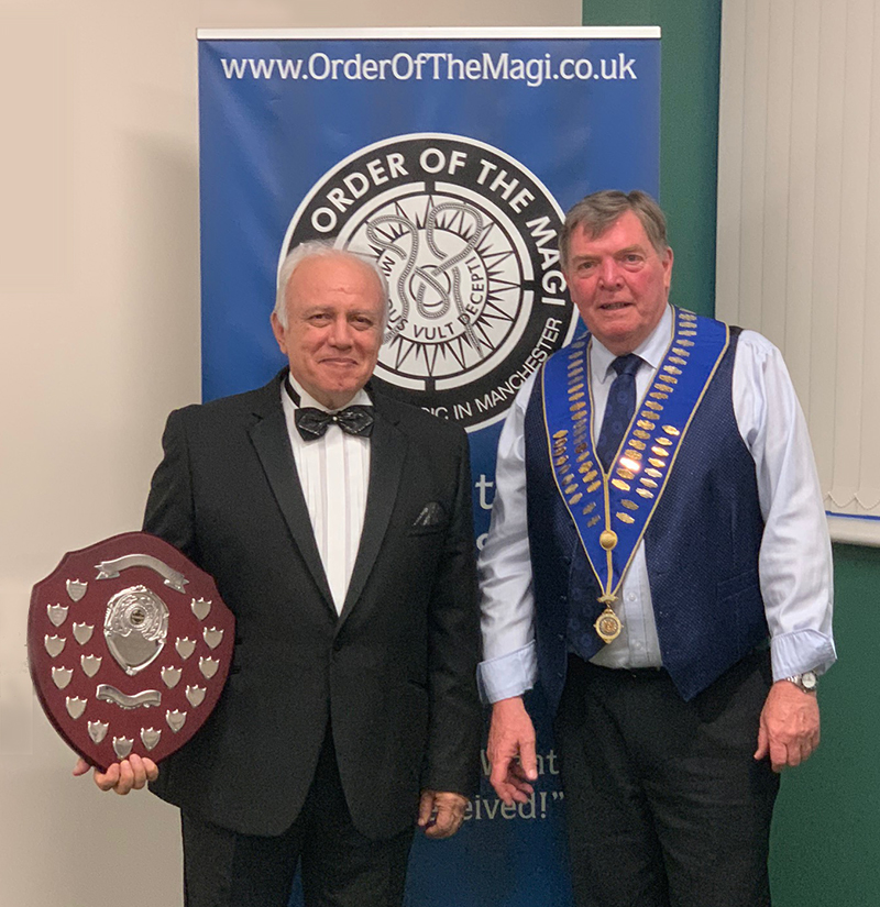 Order Of The Magi 2019 Award for Best Close Up Card Trick presented to Adrian Sullivan by President David Owen