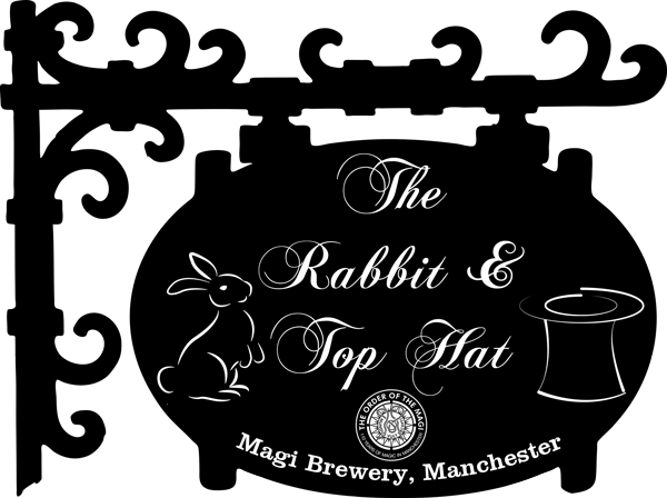 The Rabbit & Top Hat Magical Pub sign, Manchester
